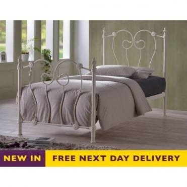 Inova 4ft Small Double Ivory Metal Bed