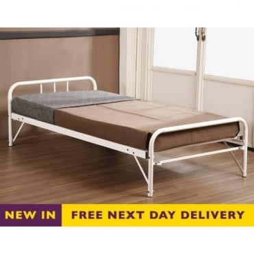 Trundle Guest Bed Ivory Metal 3ft Single TRUNIV