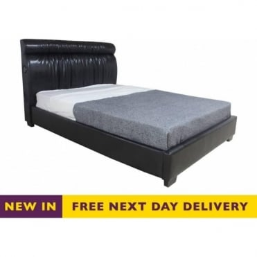 Warstock 4ft6 Double Black Faux Leather Music Bed