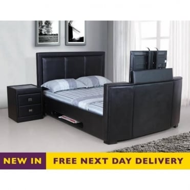 Galactic TV Bed 4ft6 Double Black Faux Leather