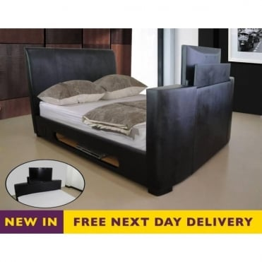 Sonic 4ft6 Double TV Bed Black Faux Leather