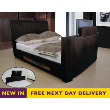 Sonic TV Bed 5ft King Size Brown Faux Leather