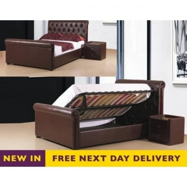 Caxton 4ft6 Brown Faux Leather Storage Bed