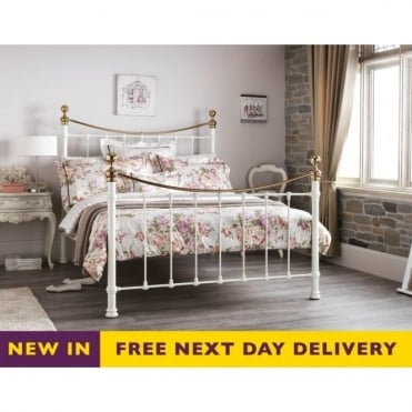 ETHA600IVBSBED 6ft Ethan Super King Size Ivory Gloss and Brass Bed