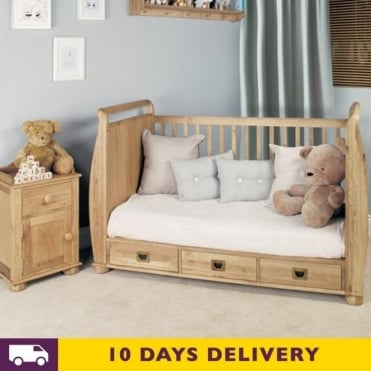 Amelie Oak Cot Bed with Three Drawers