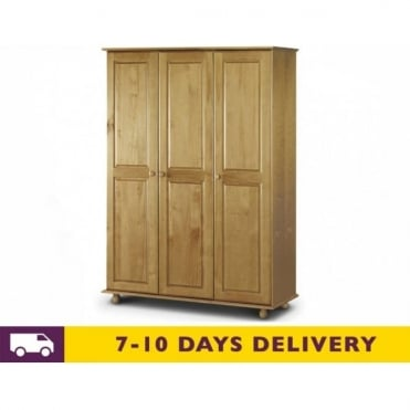 Pickwick 3 Door Solid Pine Wardrobe - Fitted