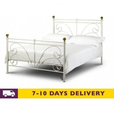 Cadiz 5ft King Size Ivory Metal Beds