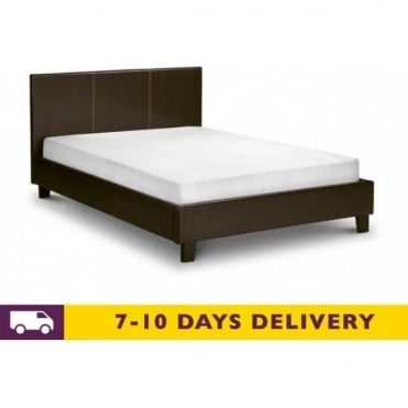 Cosmo 4ft6 Double Brown Faux Leather Bed
