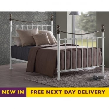 Elizabeth 5ft King Size White and Brass Metal Bed