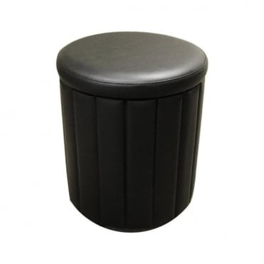 Milano Storage Stool Black Faux Leather