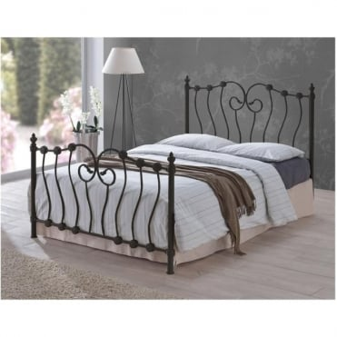 INO46BLK Inova 4ft6 Double Black Metal Bed