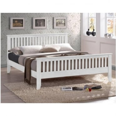 Turin 3ft Single White Solid Wooden Bed