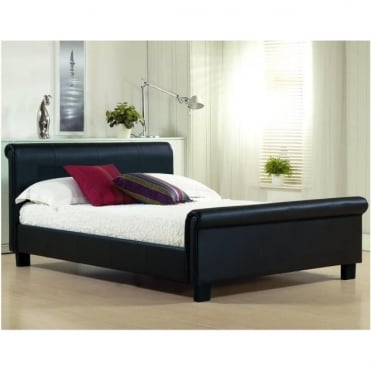 3ft Single Bed Black Faux Leather - Aurora