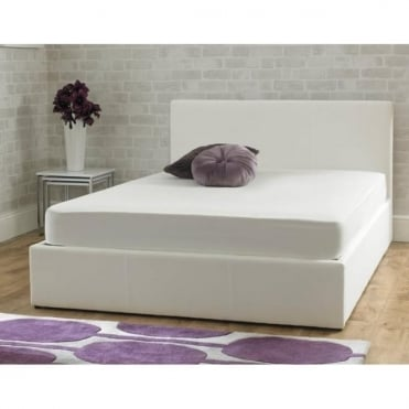 Stirling White Fabric 4ft6 Double Ottoman Storage Bed
