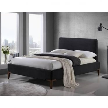 Durban 5ft King Size Black Fabric Bed