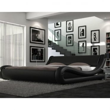 116-4FT6-BLK Rome 4ft6 Double Black Faux Leather Bed