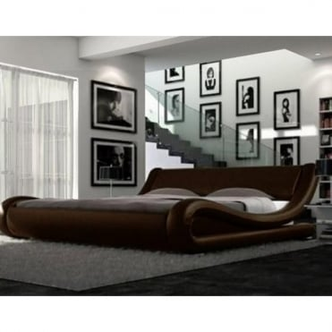 116-4FT6-BRW Monza 4ft6 Double Brown Faux Leather Bed