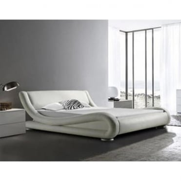 116-4FT6-WHT Monza 4ft6 Double White Faux Leather Bed