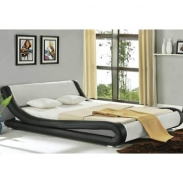 116-4FT6-BLK+WHT Monza 4ft6 Double Black and White Faux Leather Bed