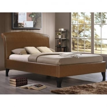 AND46TAN Andorra 4ft6 Double Tan Faux Leather Bed