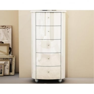 AZTNCWHT Aztec White 5 Drawer Narrow Chest