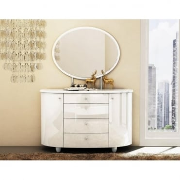 AZT-DMWHT Aztec White 4 Drawer Dresser and Mirror Set