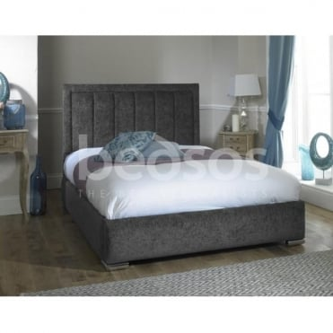 NAPLES-6FT-CHARCOAL Naples 6ft Super King Size Charcoal Chenille Bed