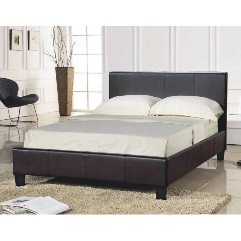 Black Faux Leather Bed 800 x 800