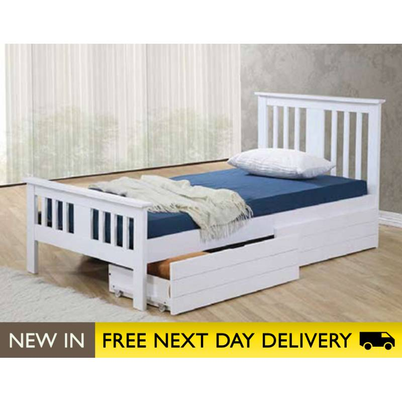 White Single Bed with Storage 800 x 800
