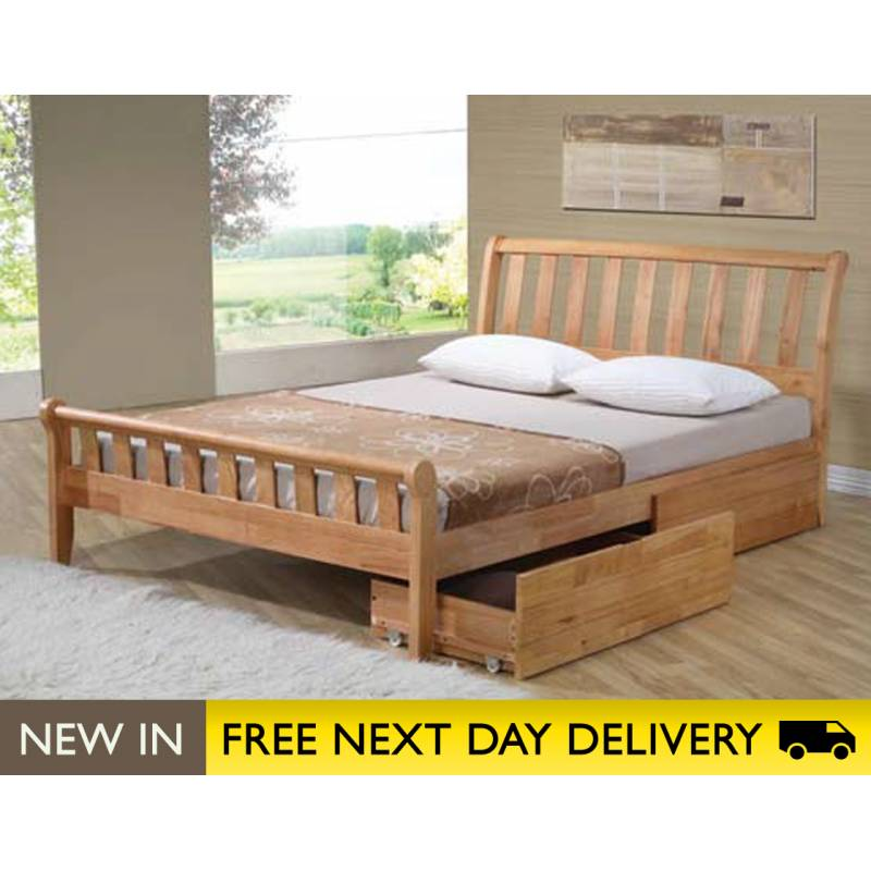 Corvallis solid wood oak double bed with drawers sleepy for Double bed with drawers and mattress