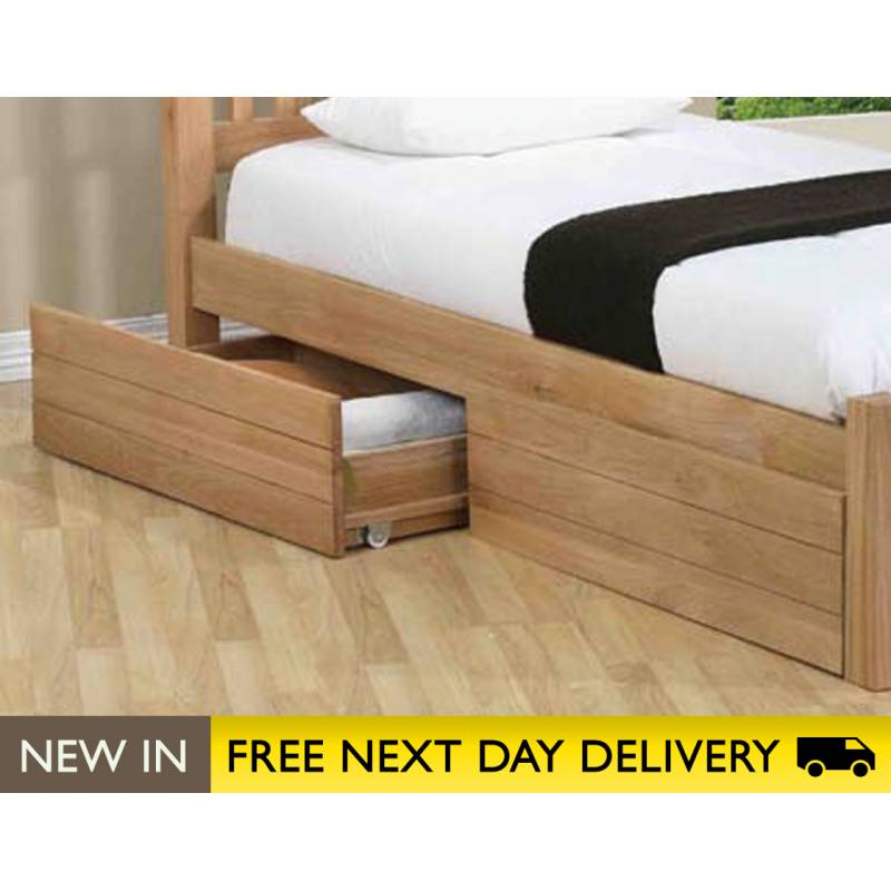 Sleepy valley beds oak storage drawers sale four under for Storage beds uk