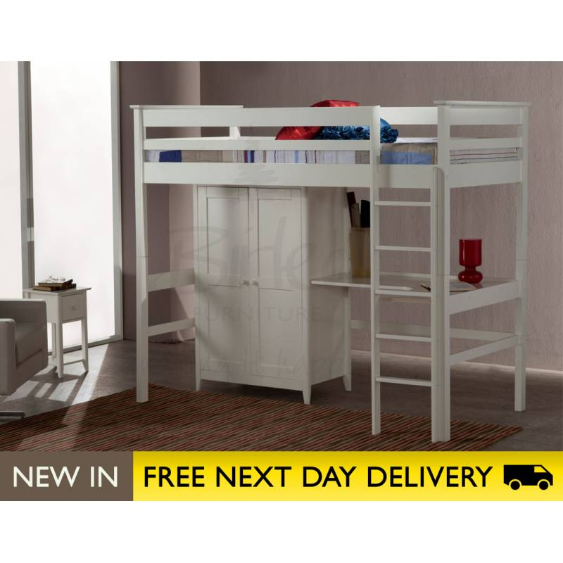Cotswold ivory high sleeper 3ft single bed cothisivr for High beds for sale