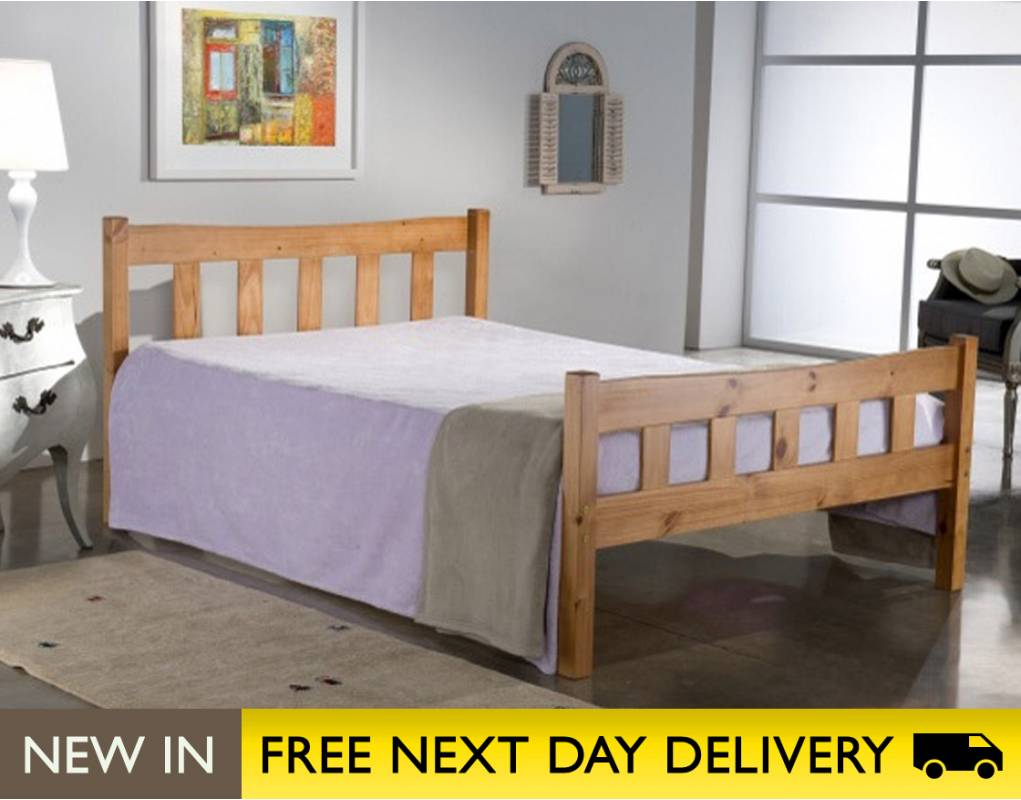 miami pine 4ft small double wooden bed miab4pin. Black Bedroom Furniture Sets. Home Design Ideas