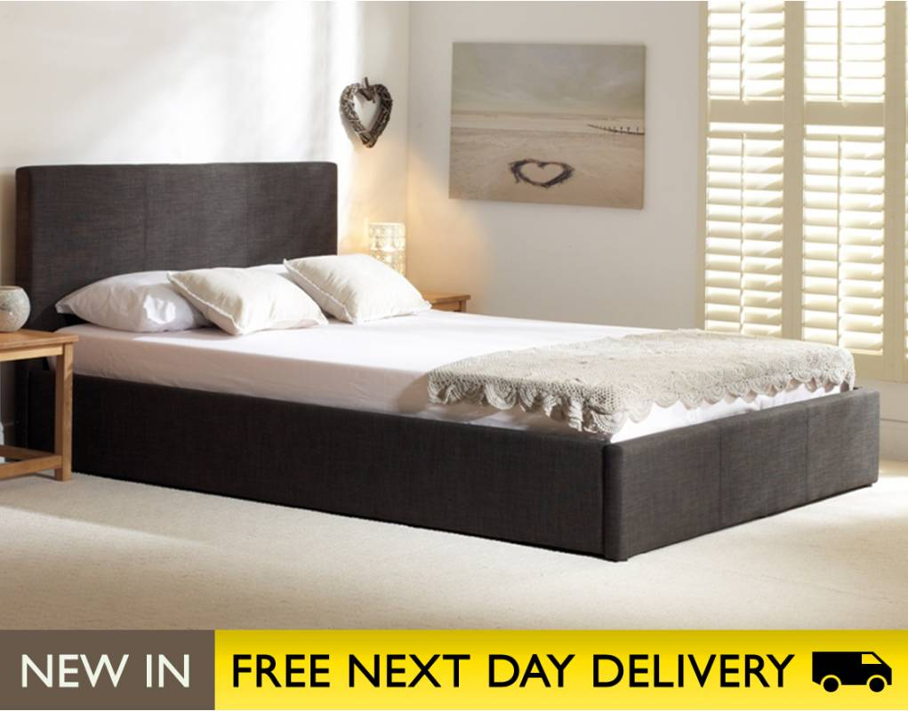 stirling ottoman 5ft king size charcoal fabric bed. Black Bedroom Furniture Sets. Home Design Ideas