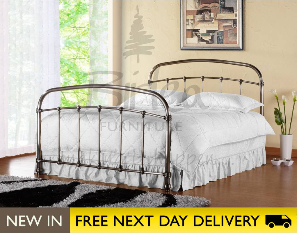 Brushed Nickel King Size Headboard: Warwick 5ft King Size Brushed Nickel Metal Bed