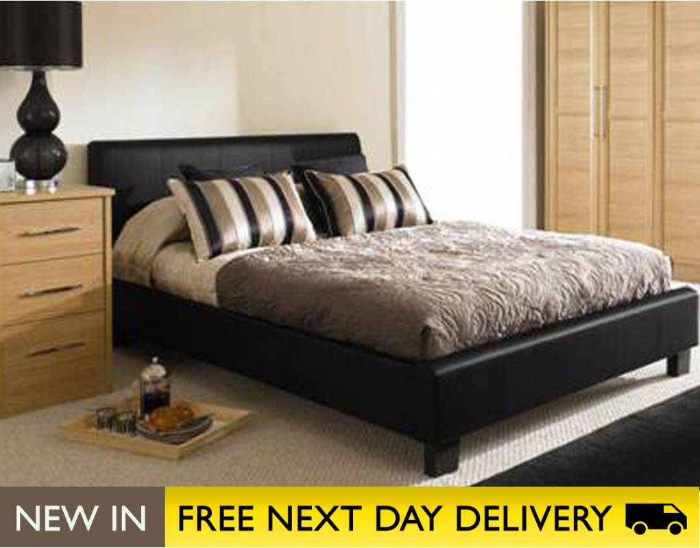 roma 4ft6 double brown faux leather bed cheapest roma. Black Bedroom Furniture Sets. Home Design Ideas