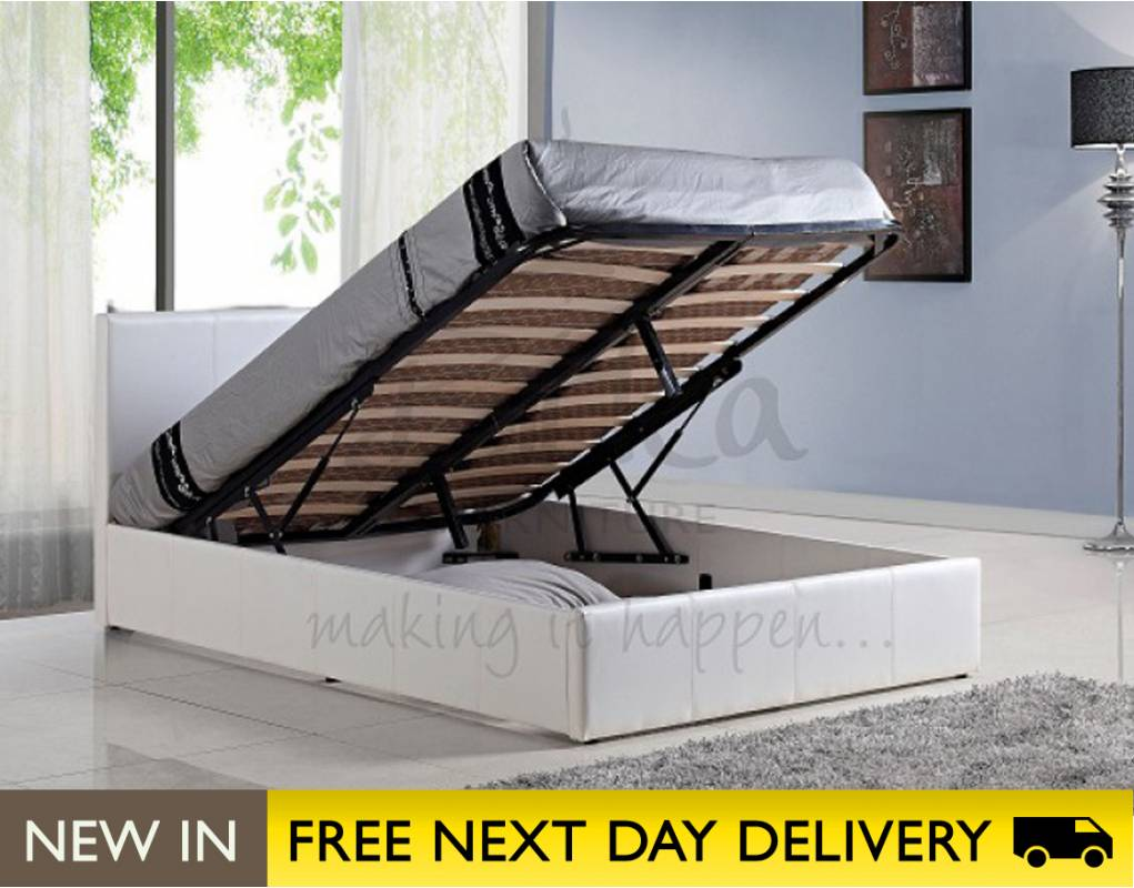 berlin ottoman 5ft king size storage bed white sale. Black Bedroom Furniture Sets. Home Design Ideas