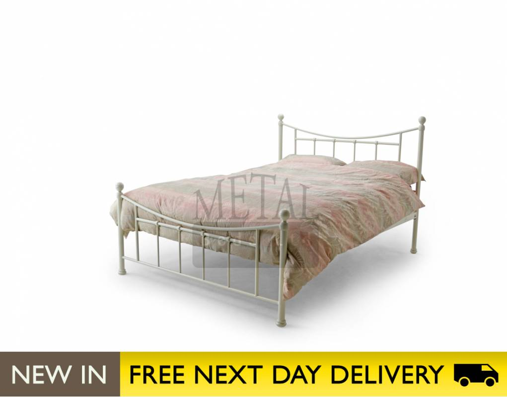 Buy Ivory Small Double 4ft Bed Metal Bristol from BedSOS