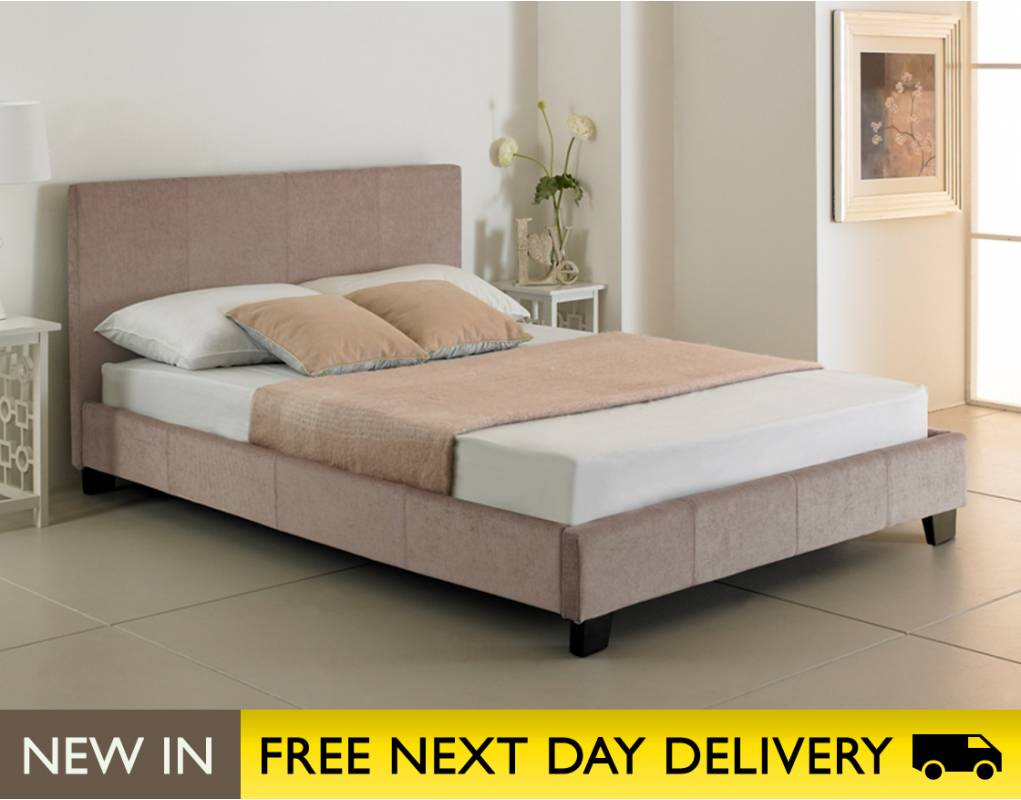 Valencia 5ft King Size Natural Stone Fabric Bed Sale Valencia Kingsize Fabric Beds Uk