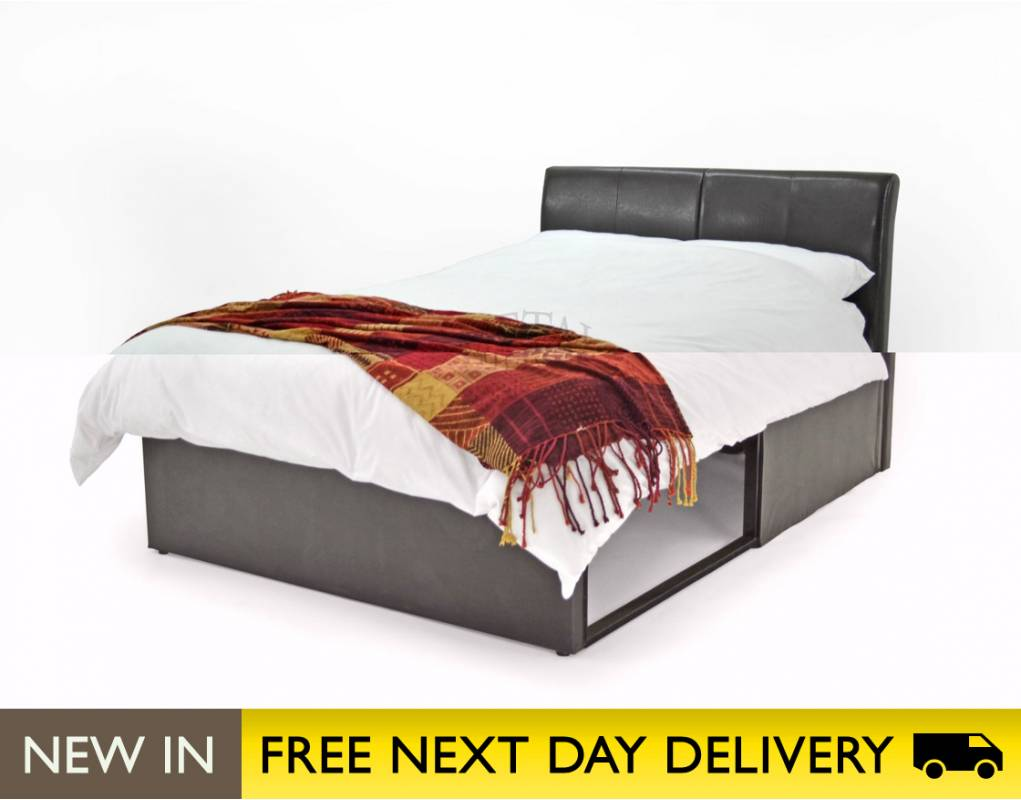 Beds › Metal Beds Ltd 4ft Small Double Bed Brown Faux Leather 1021 x 800