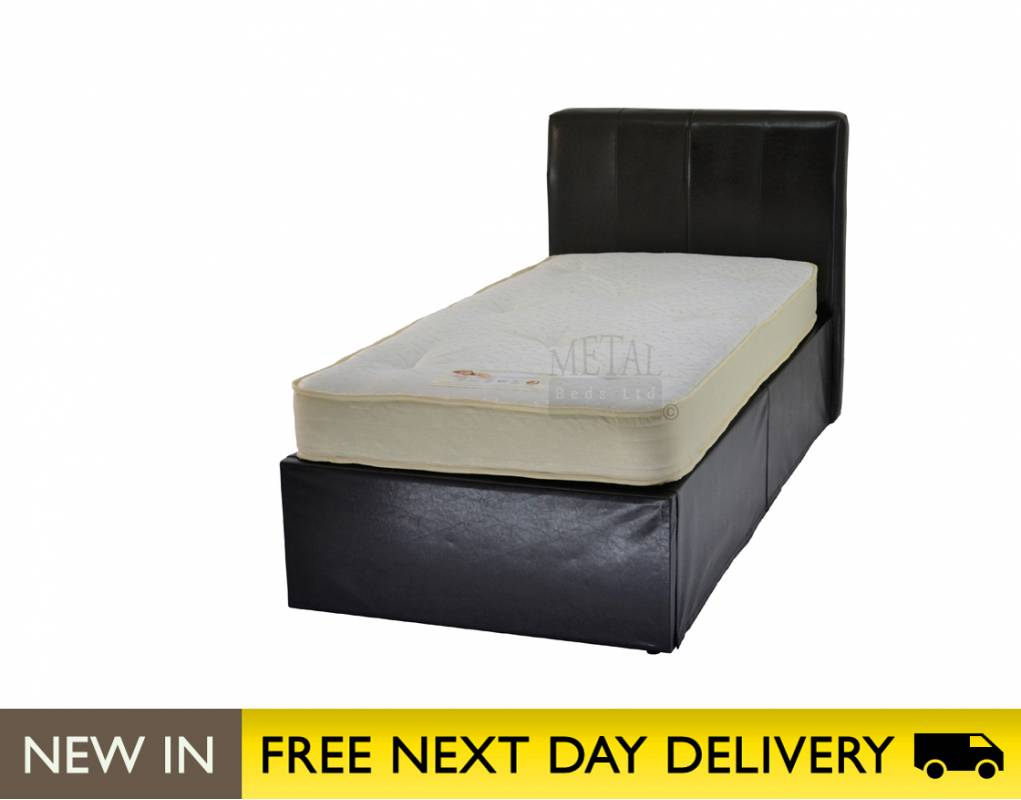 Beds › Metal Beds Ltd 3ft Small Double Bed Brown Faux Leather 1021 x 800