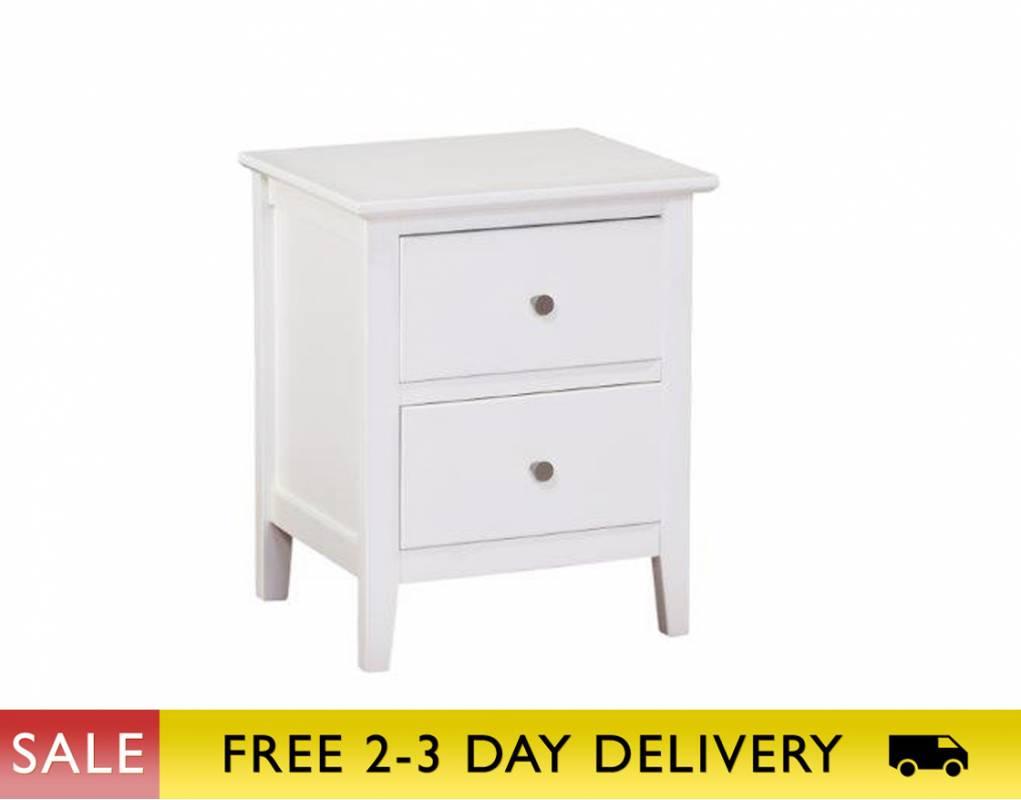 Alaska White 2 Drawer Bedside Cabinet