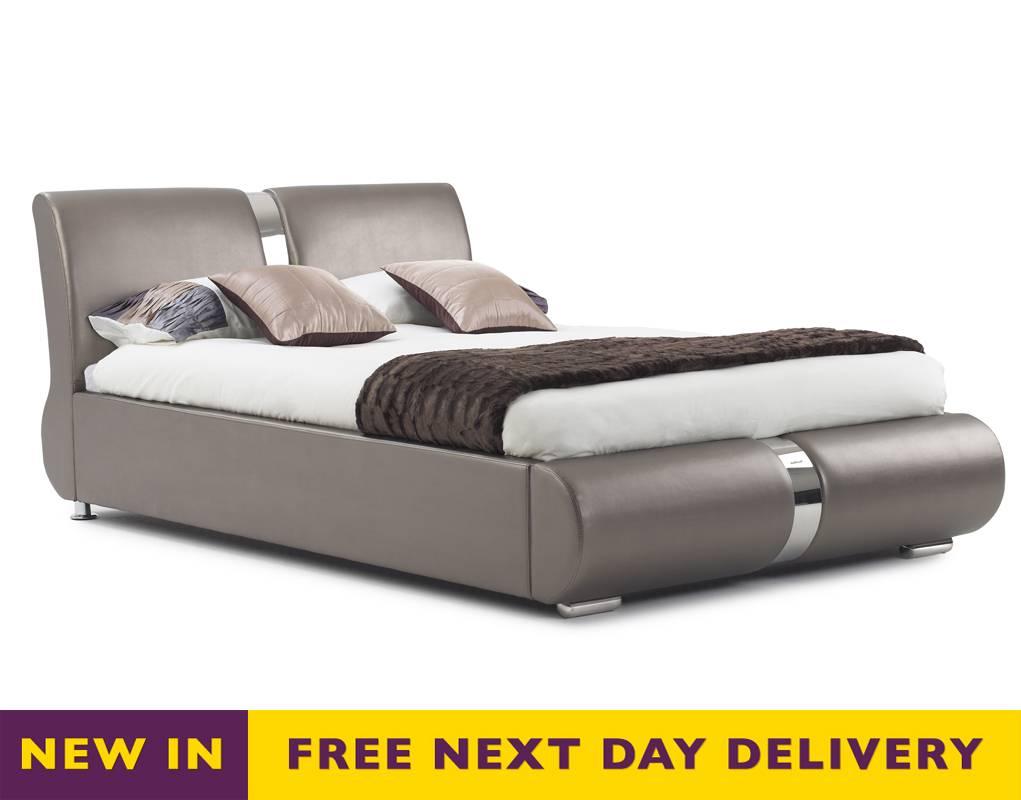 Golden Leather Bed : Home Beds Leather Bed Frames Time Living Houston 4 Drawer Black  Bed ...