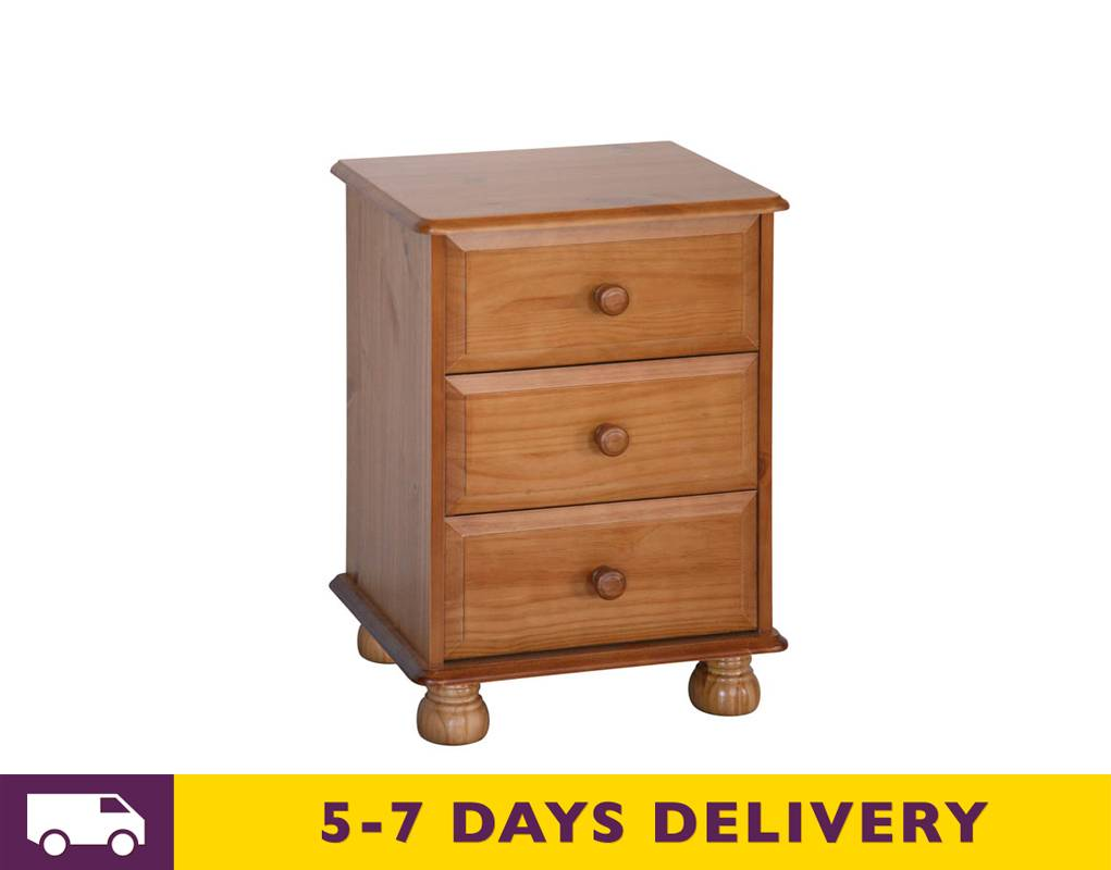 Cheap Core Products Dovedale Dd510 Three Drawer Pine Bedside Cabinet