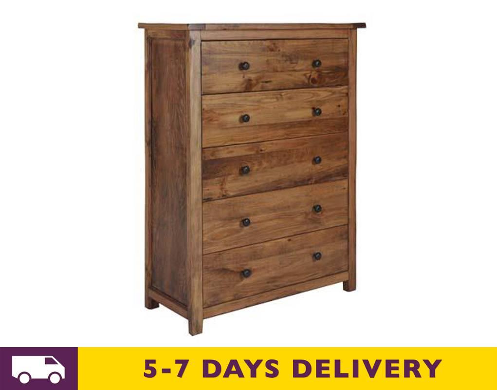 cheapest denver solid dark wooden five drawer chest dn513 uk