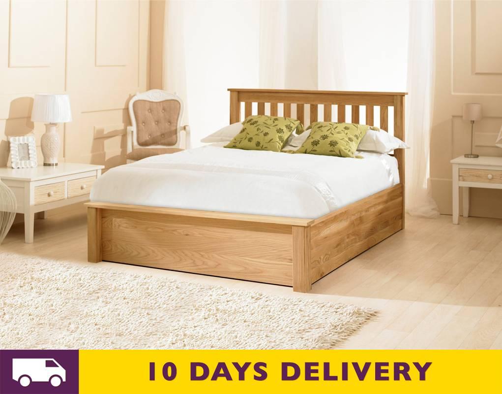 discounted emporia monaco 4ft6 double oak wooden storage. Black Bedroom Furniture Sets. Home Design Ideas