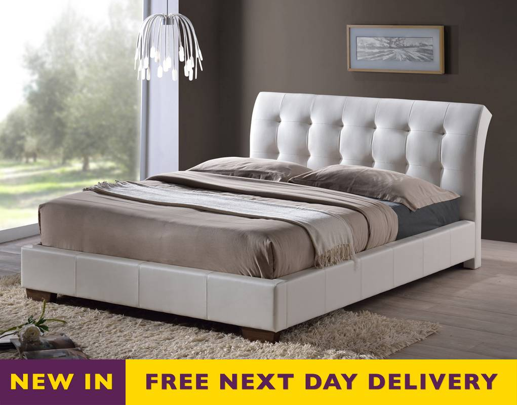 White Faux Leather King Size Bed 1021 x 800