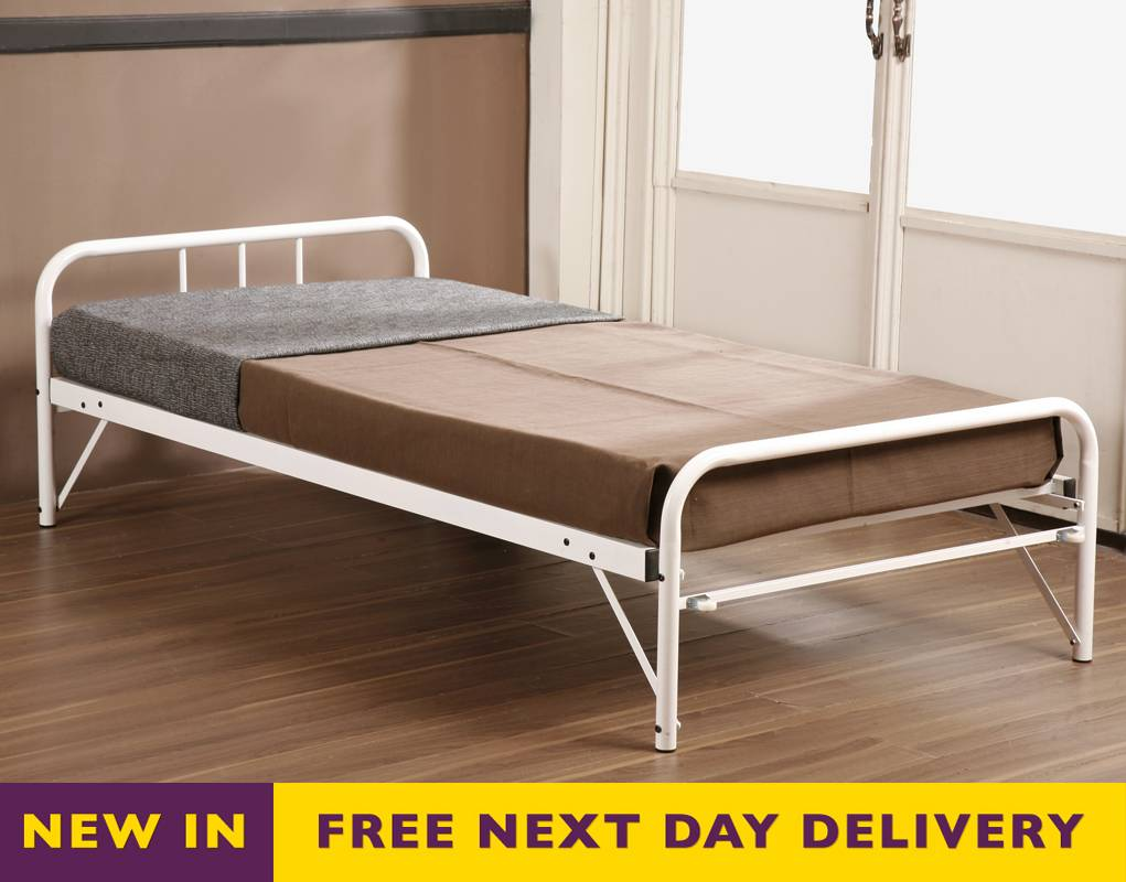 Wallace king size metal bed in ivory colour bed mattress for Best time for mattress sales