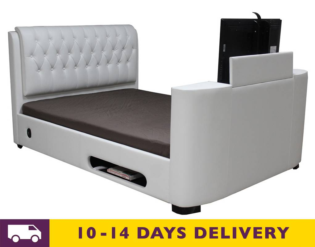 sale cosmo tv bed 4ft6 double white faux leather pay 4 later 4ft6 double cosmo tv bed white. Black Bedroom Furniture Sets. Home Design Ideas