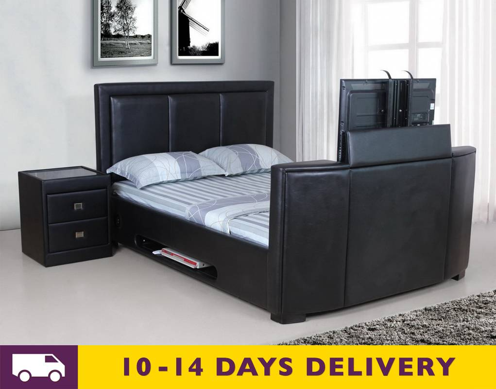 discounted galactic tv bed black faux leather 4ft6 double sale 4ft6 double black leather. Black Bedroom Furniture Sets. Home Design Ideas